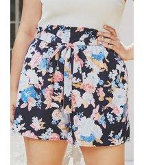 yoins plus talla cinturón diseño shorts de cintura elástica