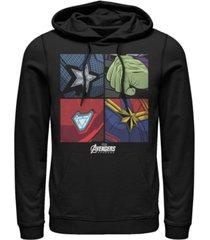 marvel men's avengers endgame box up hero logos, pullover hoodie