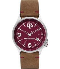 columbia men's canyon ridge texas a m saddle leather watch 45mm