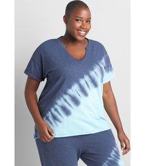 lane bryant women's livi short-sleeve tie dye sweatshirt 34/36 blue tye dye