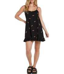 volcom x outer banks paradise print flutter hem dress, size medium in black at nordstrom