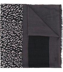 liu jo leopard print scarf - black