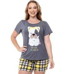 pijama short doll plus size feminino xadrez luna cuore