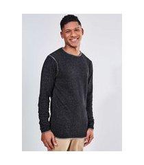blusão em tricô preto mescla