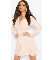 blazer jurk met knopen en volle rok, blush