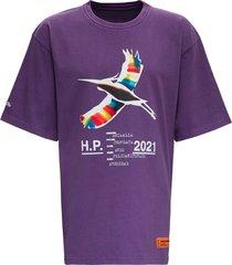 heron preston purple cotton t-shirt with logo print