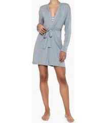 pijama feminino robe logo lateral manga longa cinza mescla calvin klein - s