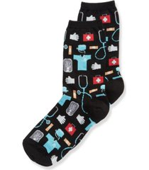 hot sox women's doctor fashion crew socks