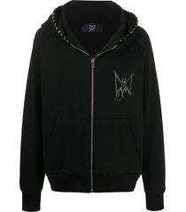 mjb marc jacques burton stitched printed logo hoodie - black