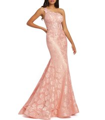 women's mac duggal one-shoulder lace mermaid gown