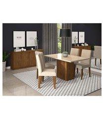 conjunto de mesa de jantar ana com vidro e 4 cadeiras milena suede off white e bege