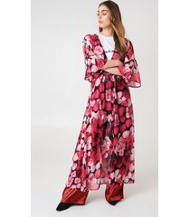 na-kd boho chiffon coat dress - pink,multicolor