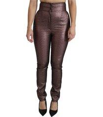 metallic hoge taille skinny katoenen broek