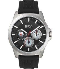 hugo men's chronograph #twist black silicone strap watch 42mm