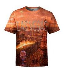 camiseta estampada over fame las vegas laranja