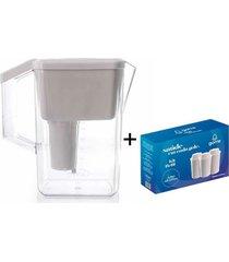jarra purificadora água alcalina com filtro cerâmica e minerais branca + 3 filtros