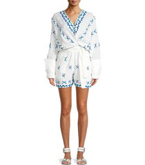all things mochi women's self-tie wrap romper - off white - size l