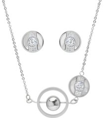 steeltime ladies stainless steel circle and bar design necklace set, 2 piece