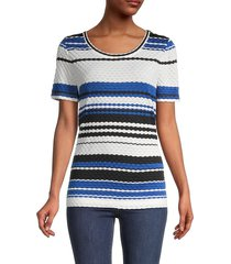 st. john women's striped short-sleeve top - blue - size s