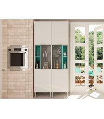 paneleiro com cristaleira essence branco/acqua – aroma cozinhas