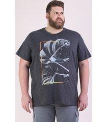 """camiseta masculina plus size folhagem """"tropical paradise"""" manga curta gola careca cinza mescla escuro"""