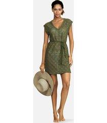 tunika sukienka wiązana zielona tropical