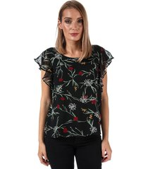 vero moda womens becca floral cap sleeve top size 10 in black