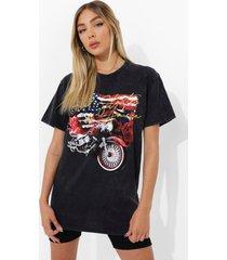 acid wash gebleekt t-shirt met opdruk, charcoal
