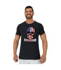 camiseta tradicional manga curta mxd conceito caveira americana masculina