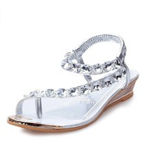 moda rhinestone toe zapatillas sandalias de playa mujeres shoses talón plano