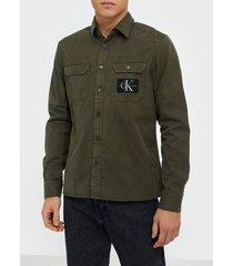 calvin klein jeans gmd twill overshirt reg + shirt skjortor green