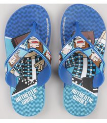 chinelo infantil ipanema authentic games azul