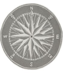 liora manne frontporch compass black and gray 5' x 5' round rug