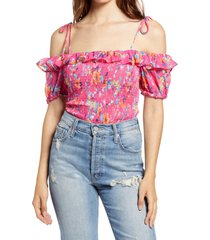 women's row a smocked tie shoulder top, size x-large - coral