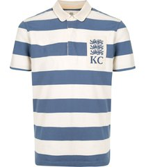 kent & curwen striped peter pan collar polo shirt - white