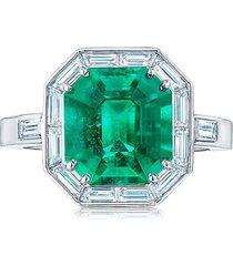 kwiat platinum diamond emerald cut ring - green