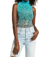 afrm holt sleeveless turtleneck mesh top, size medium in teal ombre tie dye at nordstrom