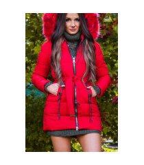 trendy winterjas met riem + afneembare capuchon rood