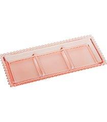 petisqueira cristal com 3 divisões pearl rosa 30x13x3cm