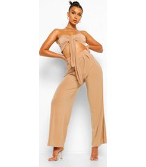 crop top met strik en wide leg broek set, camel