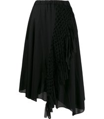 zucca macramé braided asymmetric skirt - black