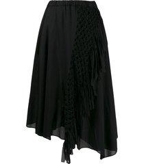 zucca macramé braided asymmetric skirt - black