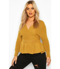 plus knitted wrap peplum sweater, mustard