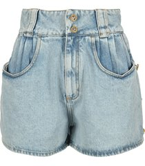 alessandra rich high waist denim shorts