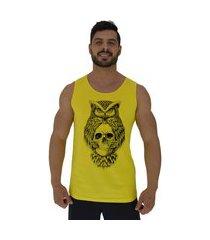 regata clássica masculina alto conceito owl and skull amarelo