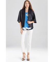 natori faux leather cropped kimono coat, women's, blue, size l natori