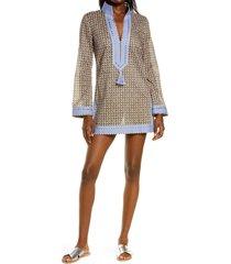 women's tory burch basket weave print tassel long sleeve cover-up tunic, size small - purple