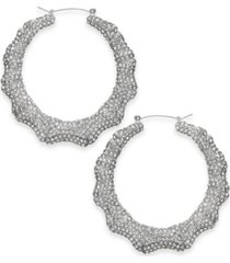 "thalia sodi silver-tone pave bamboo medium hoop earrings, 2"", created for macy's"