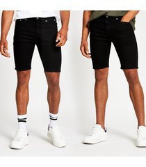 river island mens black skinny denim shorts 2 pack