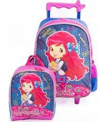 mochila de rodinhas infantil + lancheira moranguinho original feminina
